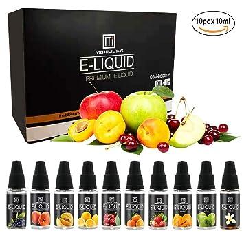E Liquid,Vape Liquid Juice 10 Pack (10pc x10ml) 70VG/30PG E Cigarettes  Vapor Oil No Nicotine, No Tobacco …