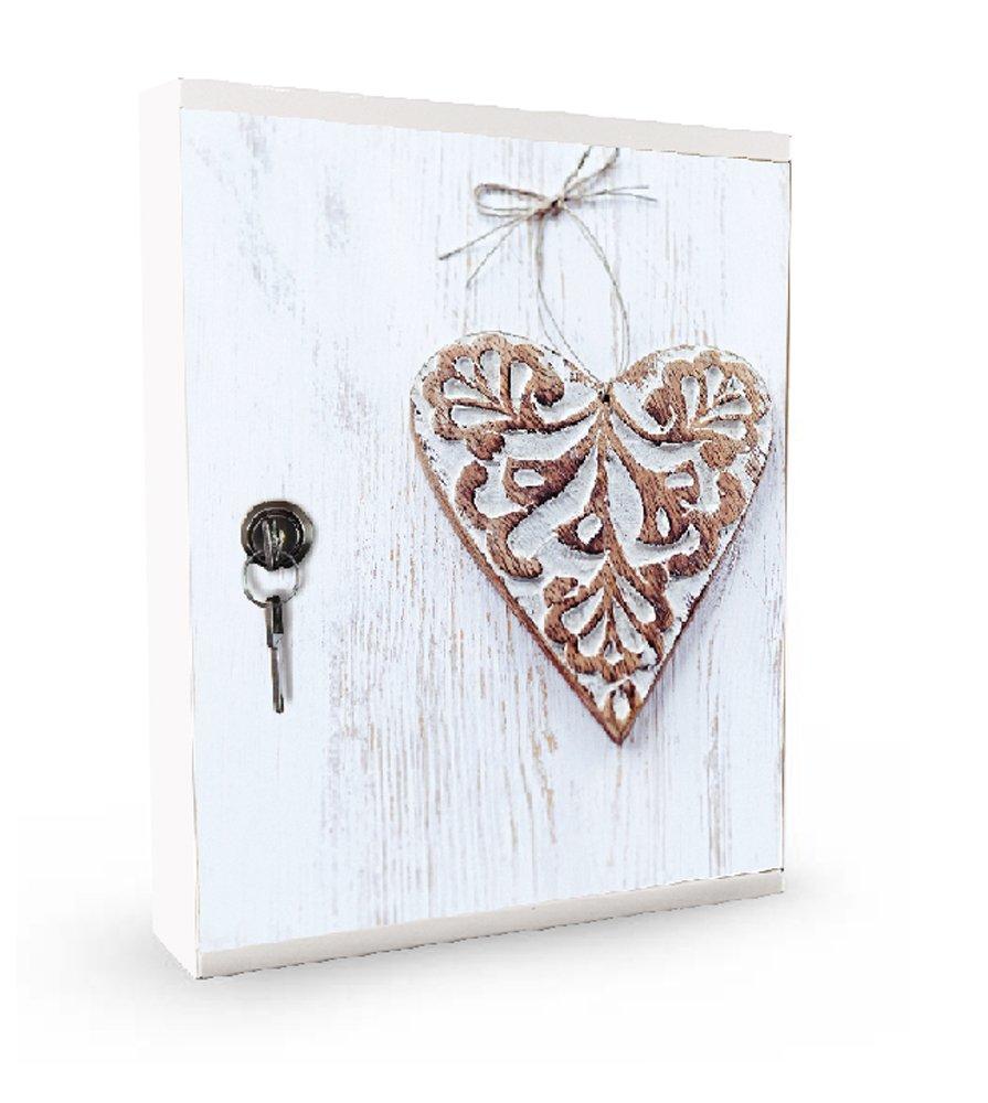 Alubox Bacheca design MIA completa di 16 ganci porta chiavi, in acciaio colore bianco il corpo e sportello con stampa Cuore; cm. 5x24.5x31.5; ideale per l'ingresso di casa. MIAKEY01