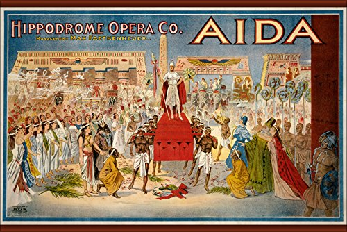 24x36 Poster; 1908 Poster For Giuseppe Verdi'S Aida, Performed By The Hippodrome Opera Company Of Cleveland, - Poster 1908