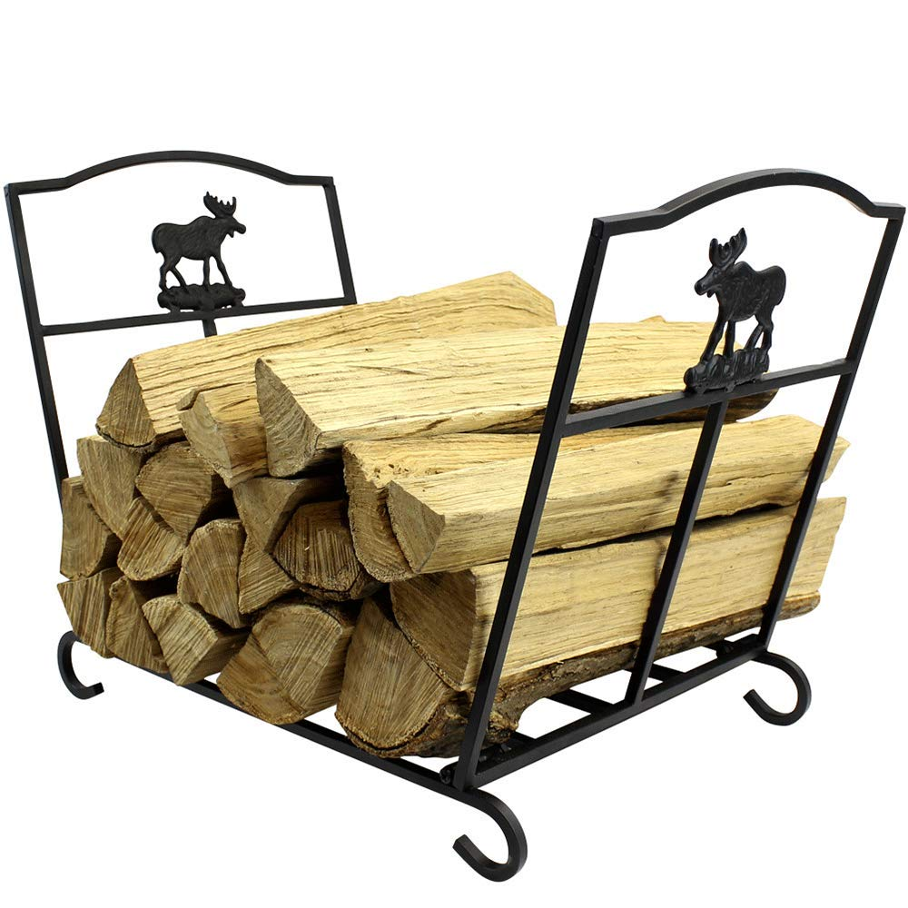 MyFirePlaceDirect Fireplace Log Rack Fire Wood Holder Wrought Iron Indoor Wood Storage Heavy Duty Log Rack Holder Firewood Carrier for Indoor/Outdoor by MyFirePlaceDirect