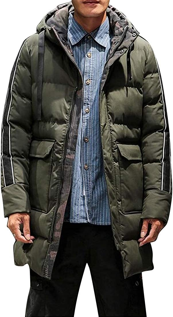 Fensajomon Men Hooded Mid Length Winter Warm Thicken Parkas Quilted Jacket Coat Outerwear