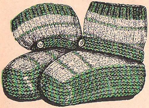 Infants Slipper Socks Knitting Pattern Baby Vintage Knit Booties