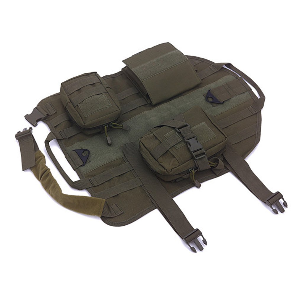 Green L Green L Dog Training Vest Tactics MoLLE vest for Training Hiking Outdoor Sports Handle with 3 Detachable Pouches