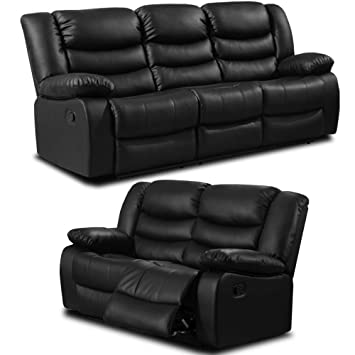 Simply StylisH Sofas Belfast Negro Piel reclinable sofá de 3 ...