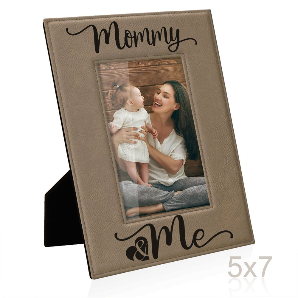 Kate Posh Mommy and Me Engraved Leather Picture Frame, First (1st), Birthday for Mom, New Mom, Mommy & Me, I Love You Mom, Best Mom Ever Gifts (5x7-Vertical)