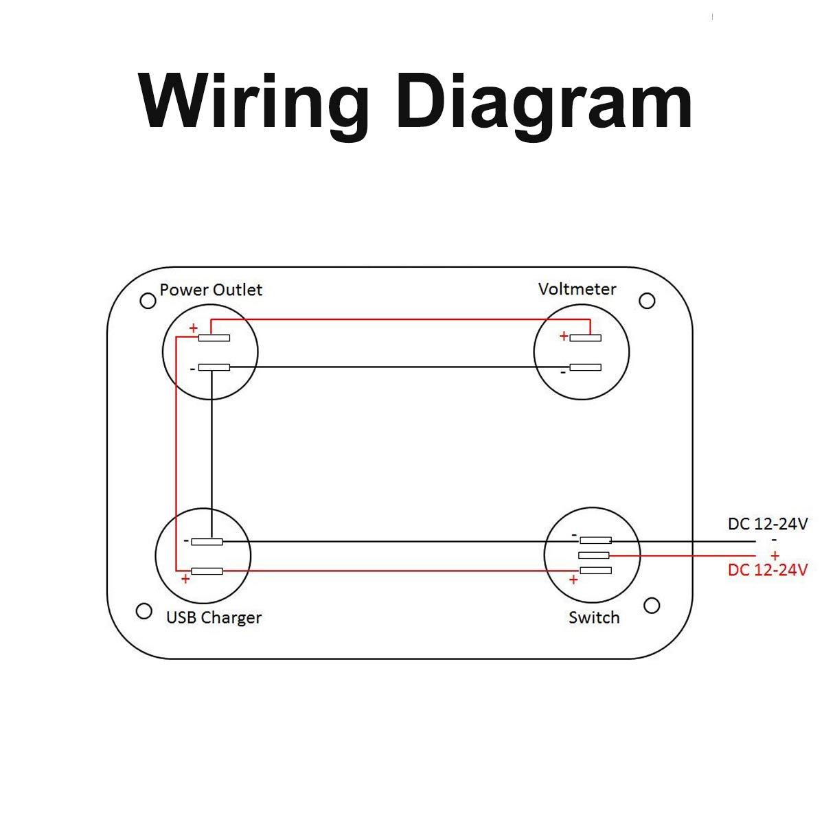 amazon com: linkstyle 4 in 1 charger socket panel, 12v 4 2a dual usb charger  socket power outlet & led voltmeter & cigarette lighter socket & led  lighted on