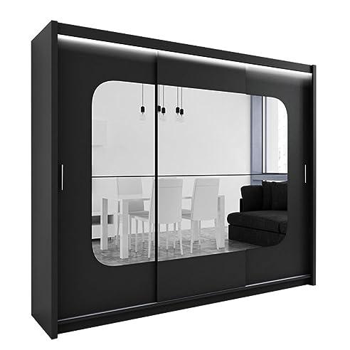 Schwebetürenschrank spiegel schwarz  Kleiderschrank mit Spiegel und LED-Beleuchtung Barcelona, Modernes ...