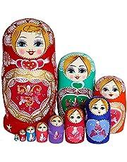 NewIncorrupt 10 stks/set Houten Russische Nesting Poppen Rusland Traditionele Matroesjka Poppen Verjaardag Kerstcadeau Speelgoed Voor Meisjes: