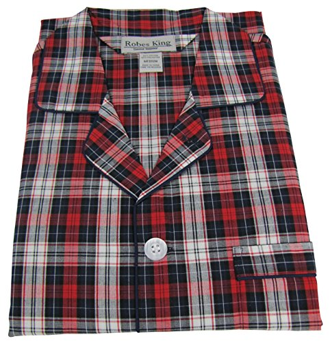 RK Classical Sleepwear Mens Broadcloth Woven Pajama Set, Size Small, Red, Plaid (0156) by Robes King (Image #1)