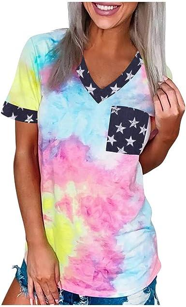 Women/'s Casual Tie-DyeT Shirt Patchwork V Neck Short Sleeve Tops Blouse Summer