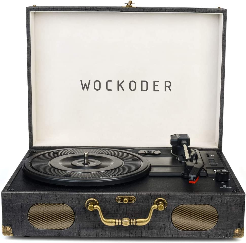 Wockoder Turntable with Speakers Nostalgic Record Player