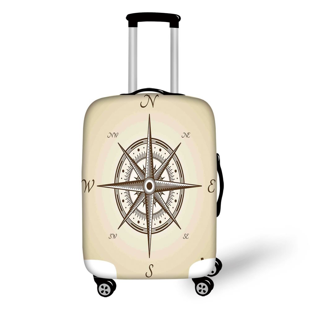 Travel Luggage Cover Suitcase Protector,Compass Decor,Compass Illustration Navigating Marine Instrument Antique Collection Artwork Print,Beige Brown,for Travel