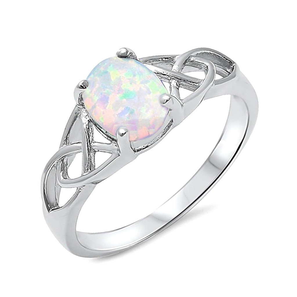 Swirl Design White Opal Fashion .925 Sterling Silver Ring Sizes 5-10