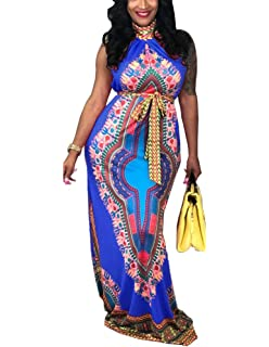 3696b14ae6 Women s Traditional African Print Dashiki Sleeveless Retro Long Maxi Dress  with Belt