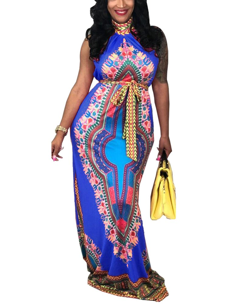 Women\'s Traditional African Print Dashiki Stand Collar Sleeveless Retro Loose Long Maxi Dress with Belt Small Blue