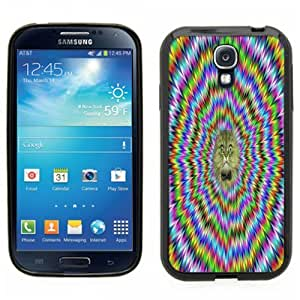 Samsung Galaxy S4 SIIII Black Rubber Silicone Case - Trippy Kitty Design. Looks like to moves