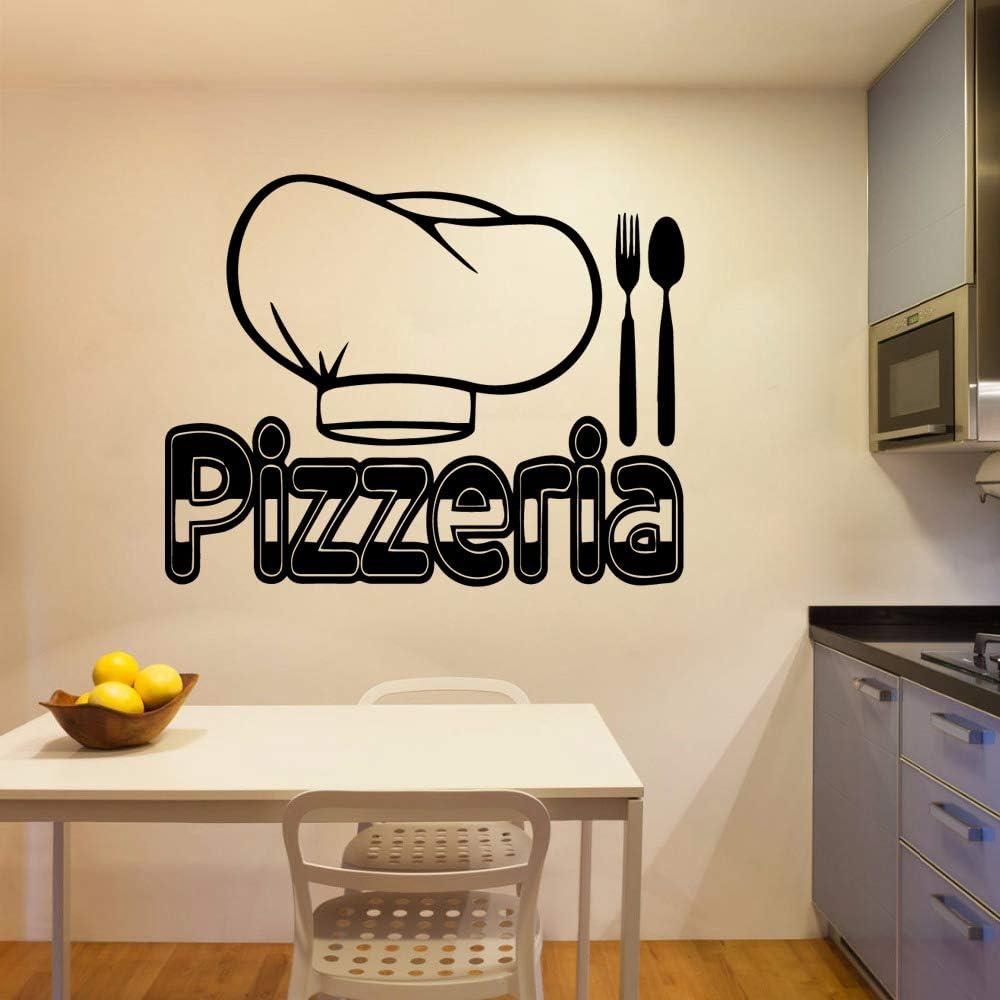 HNXDP Exquisite Pizzeria Etiqueta de la pared Accesorios para la decoración del hogar Etiqueta de la pared removible Decoración de la pared Murales Plata M 30cm X ...