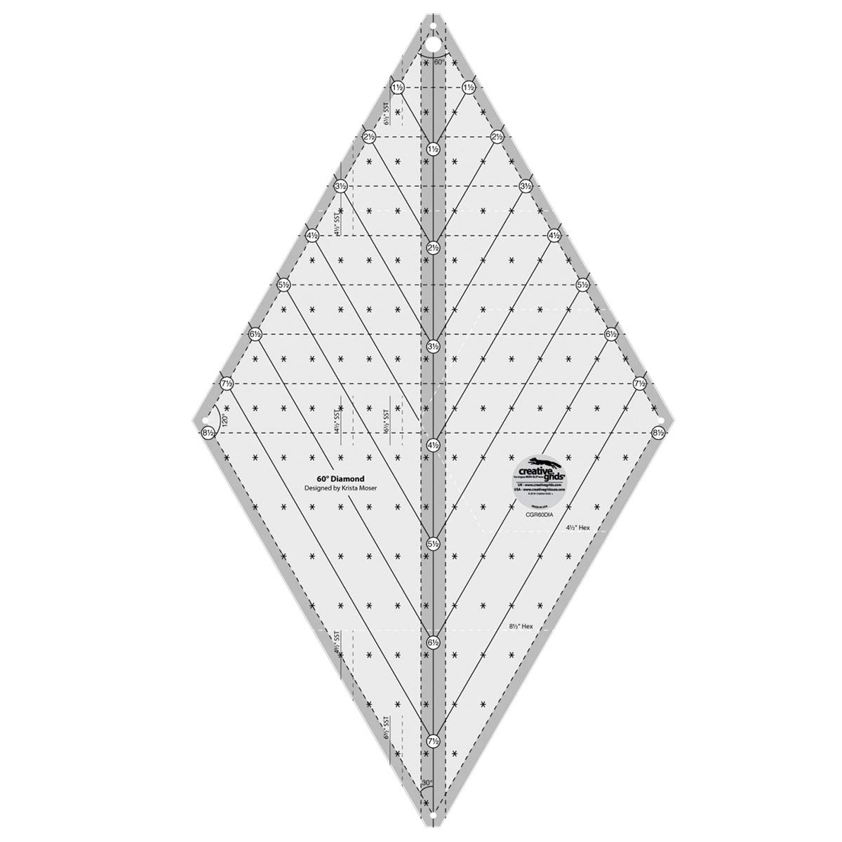 Creative Grids 60-Degree Diamond Quilting Ruler Template Designed by Krista Moser cgr60DIA by Creative Grids