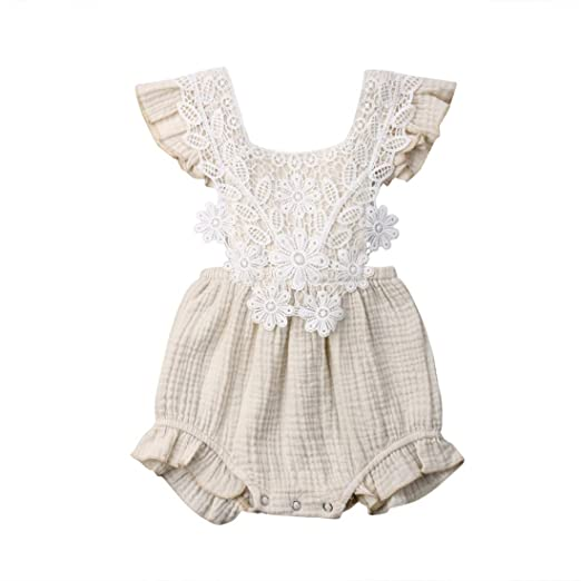 c007bfbf0c1e FUFUCAILLM Newborn Baby Romper Girls Floral Lace Tassel Cotton Outfit  Ruffled Sleeveless Summer Clothes Bodysuit (