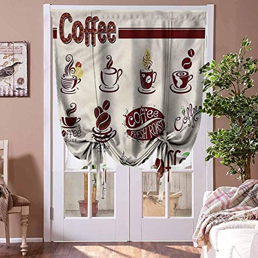 HouseLookHome Window Blind Curtain Coffee Bowknot Drapery Valance Panels Set of Abstract Elements