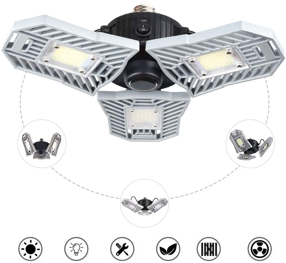 Deformable Tri-Fold Lamp Motion Activated LED Garage High Bay Light 60W E27