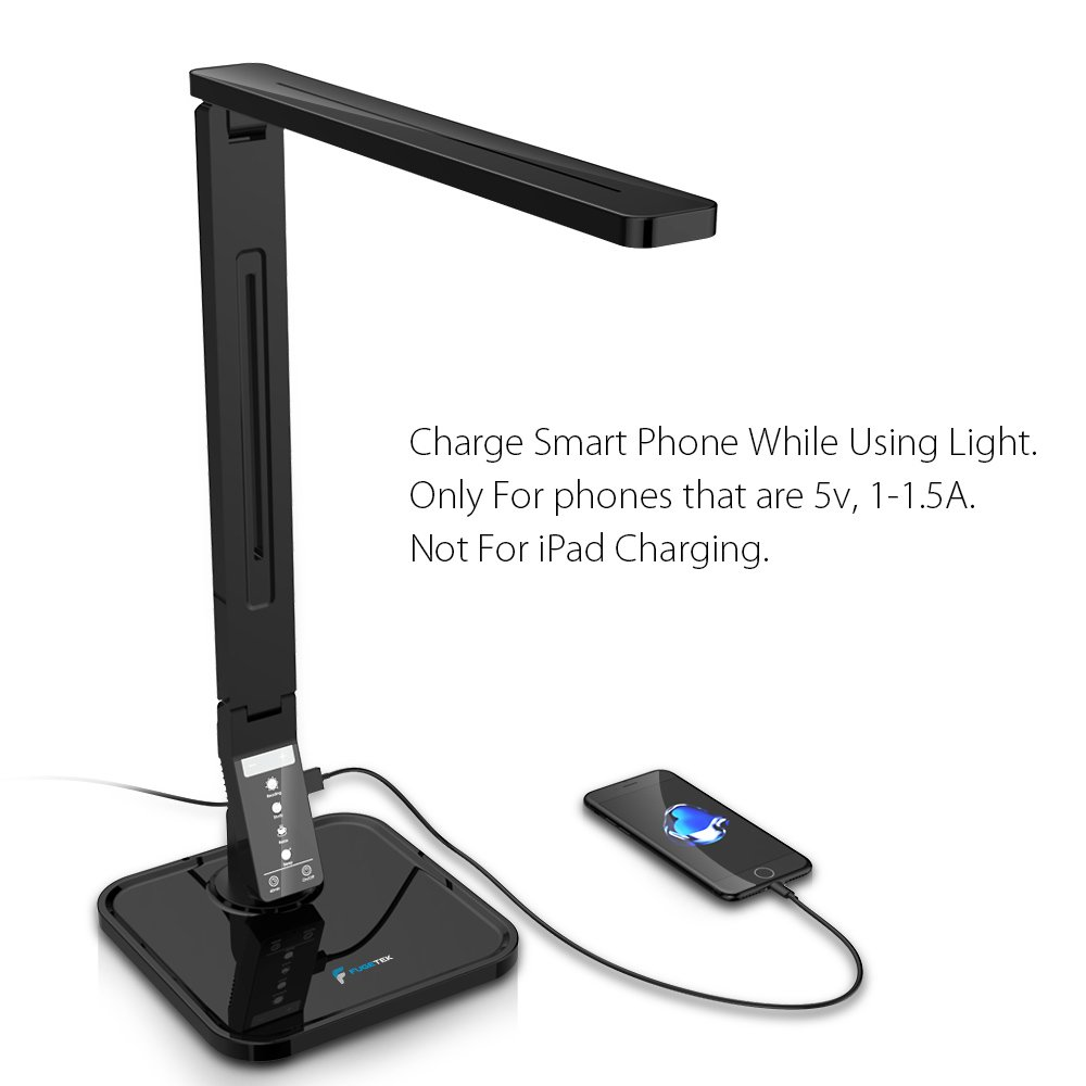 LED Desk Lamp Fugetek FT-L798, 5-Level Dimmer, Touch Control Panel, 1-Hour Auto Timer, 5V/1A USB Charging Port - Jet Black (Black) by Fugetek (Image #2)