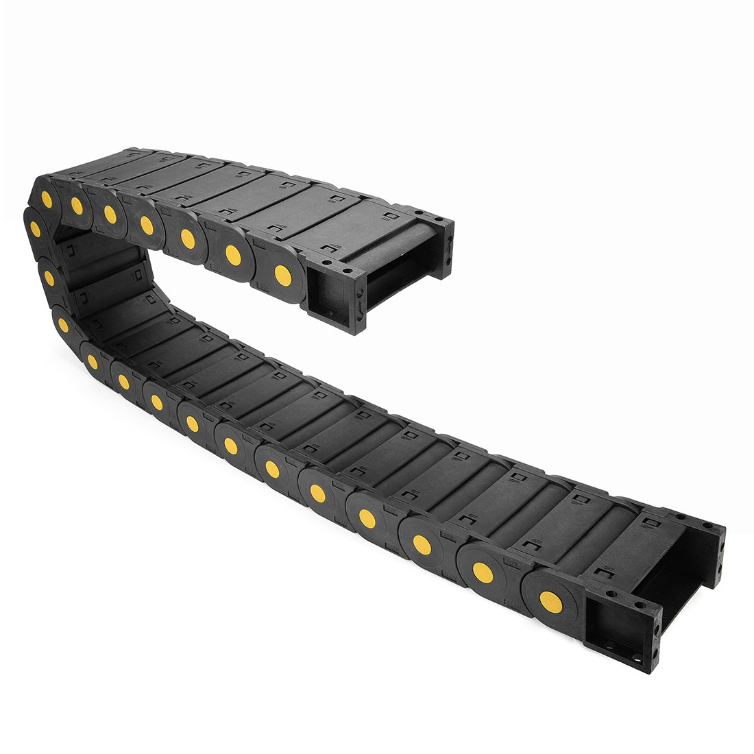 uxcell Drag Chain Cable Carrier Closed Type with End Connectors R28 15X20mm 1 Meter Plastic for Electrical CNC Router Machine Black