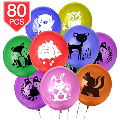 PROLOSO Animal Balloons Party Decrations Latex Balloons for Jungle Safari Woodland Theme Baby Shower Birthday Party Supplies 80 Pcs: Toys & Games
