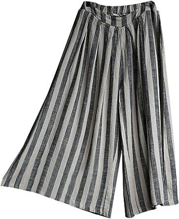 MatchLife Femme Pantalon à Taille Haute Culotte en Lin à