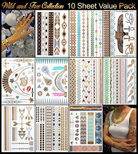 10 Metallic Plus 2 White Henna Tattoo Sheets - 129+ Temporary Flash Tattoos for Woman & Girls in...