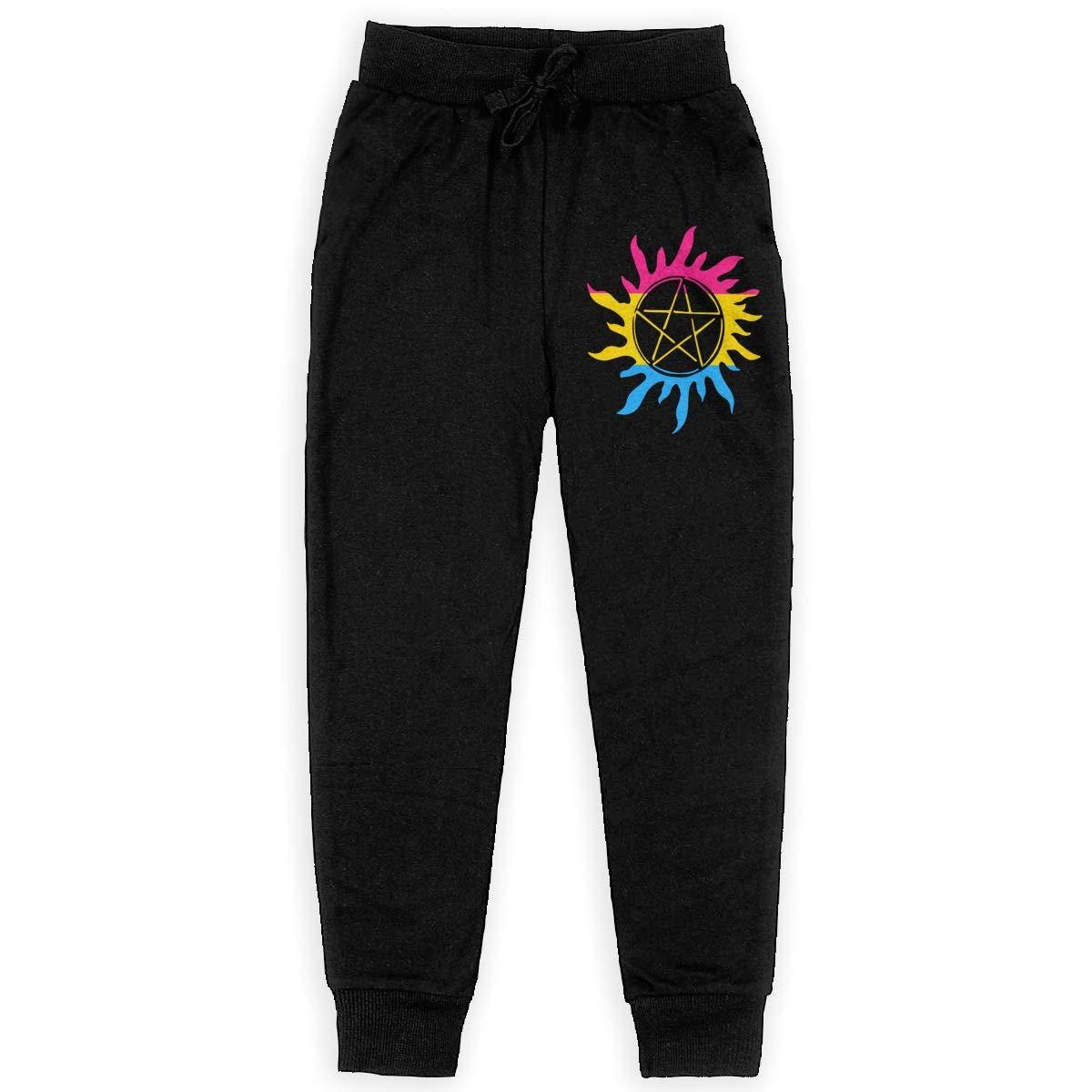WYZVK22 Supernatural-Pansexual Pride Soft//Cozy Sweatpants Teenager Fleece Pants for Teenager Boys