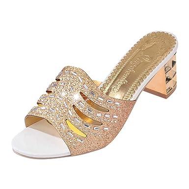 Sandalias Romanas de Verano de Mujeres Low Peep-Toe Zapatos Sandalias Ladies Flip Flops Zapatillas