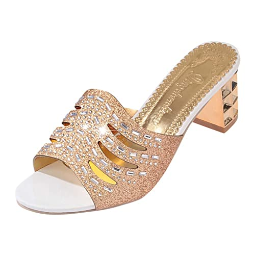 b7f1b496c98 ANBOO Women High Heel Slipper Roma Bling Crystal Slipper Sandals Peep Toe  Ladies Shoes Gold