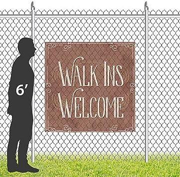 Classic Brown Wind-Resistant Outdoor Mesh Vinyl Banner 9x3 CGSignLab Walk Ins Welcome