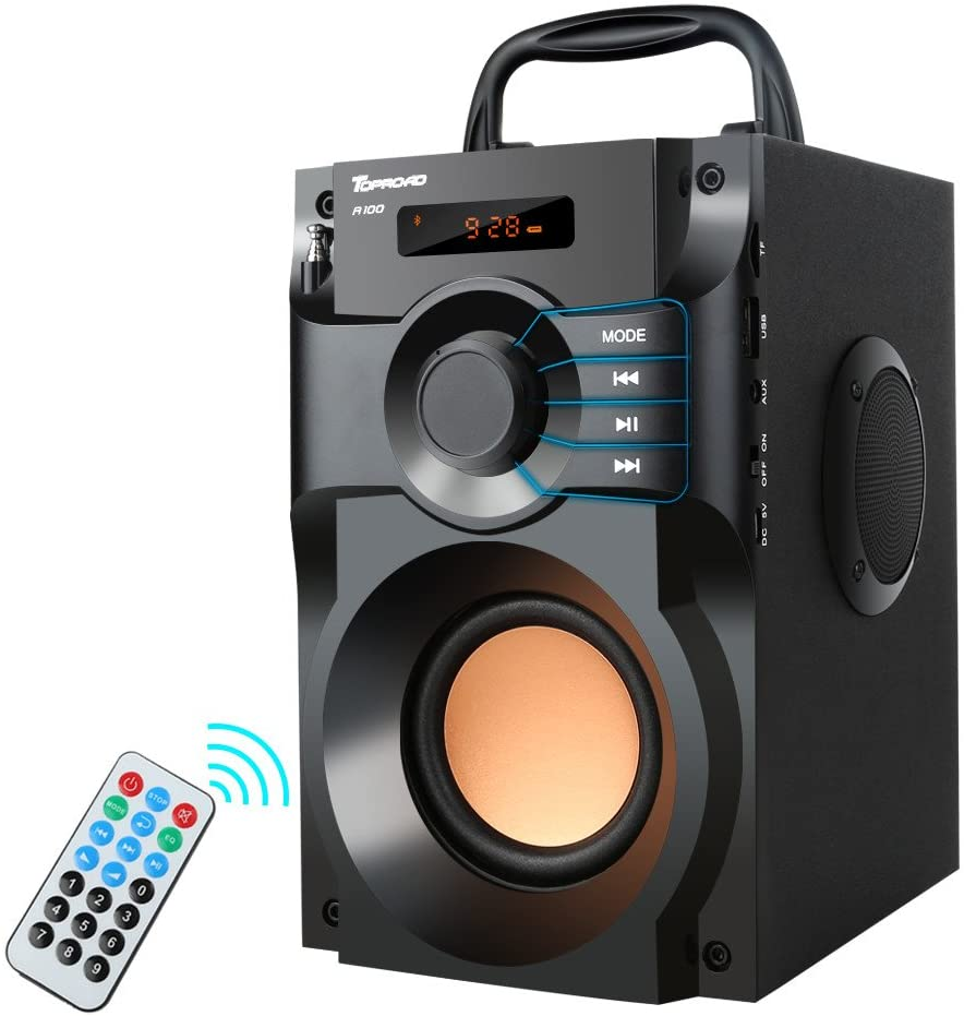 Portable Bluetooth Speaker Wireless Outdoor Party Speaker MP9 Player Rich  Bass Stereo Speakers with Subwoofer FM Radio Support Remote Control TF Card