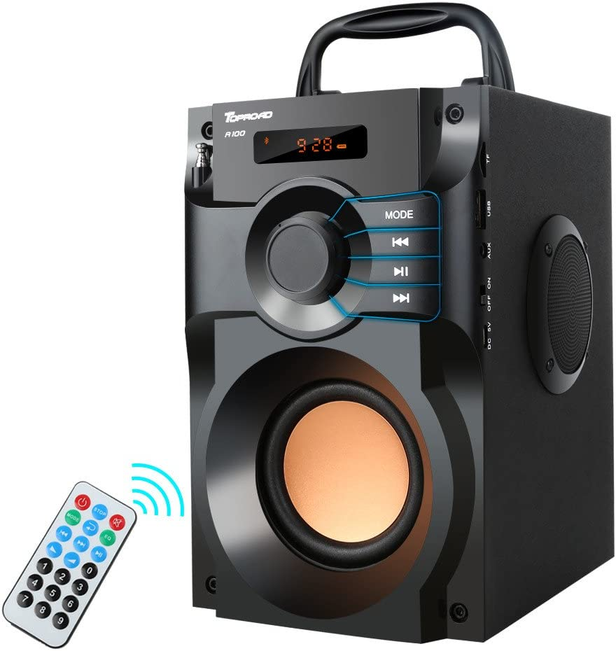 Portable Bluetooth Speaker Wireless Outdoor Party Speaker MP8 Player Rich  Bass Stereo Speakers with Subwoofer FM Radio Support Remote Control TF Card