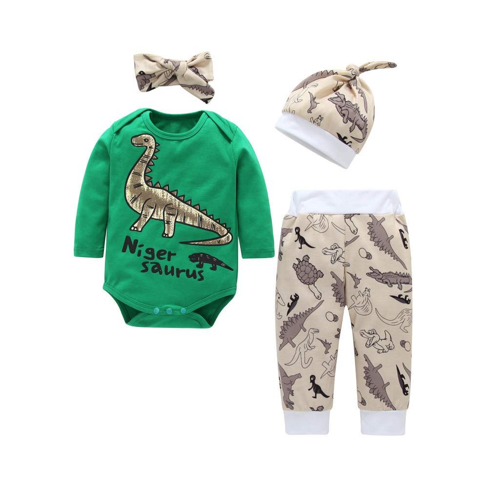 Newborn Christmas Pajamas Sets,Jchen(TM) Infant Baby Long Sleeve Dinosaur Print Romper Animal Pants Hat Headband 4 PCS Outfits for 0-24 Months (Age: 12-18 Months)
