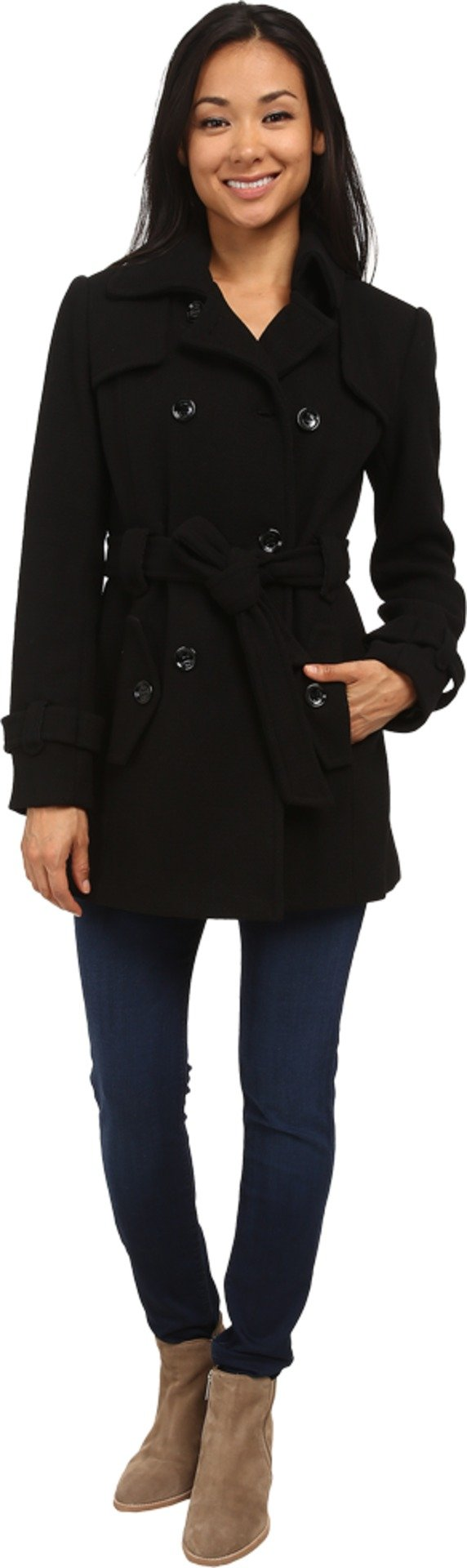 Calvin Klein Women's Double Breasted Belted Wool Trench Coat Black Outerwear XL (US 14)