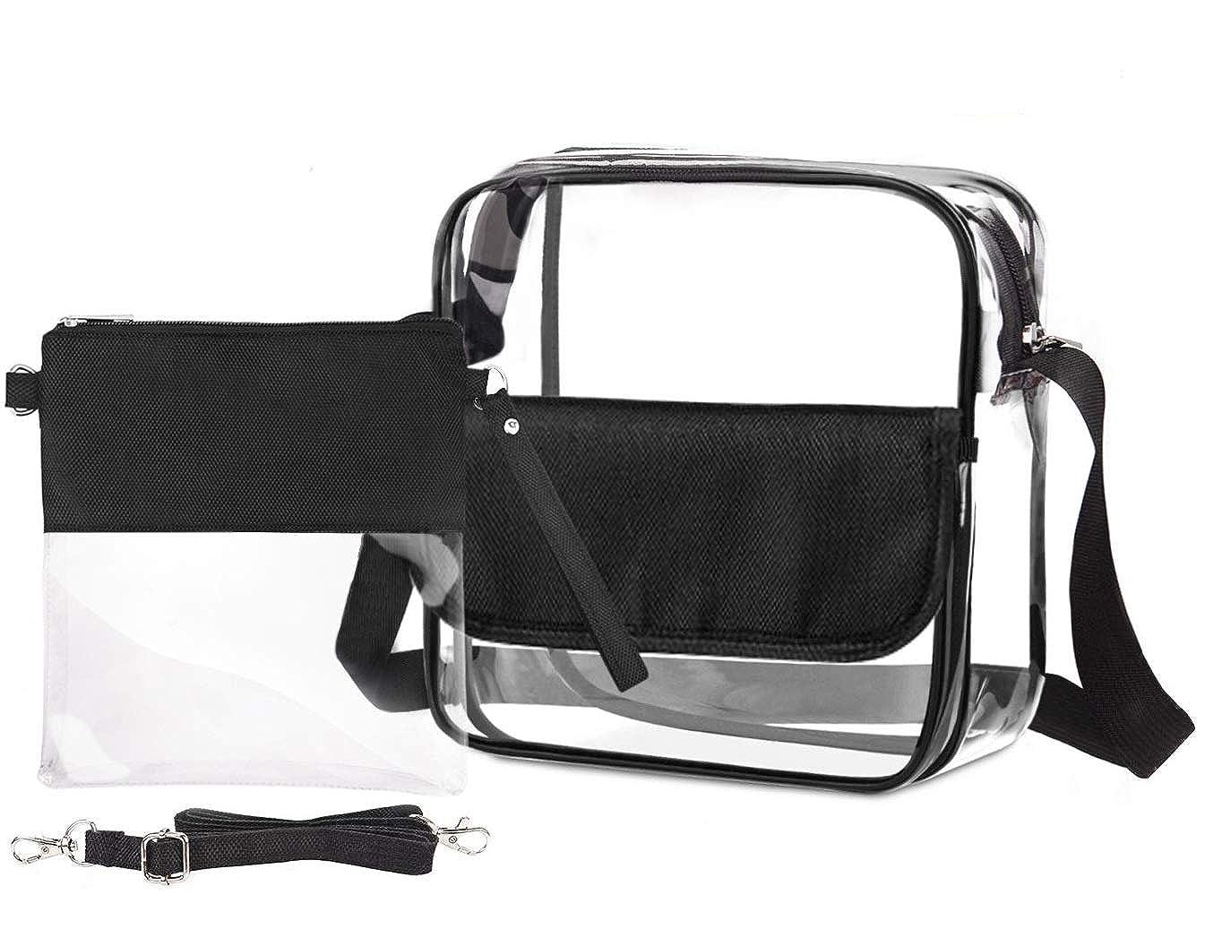 Amanz Designs Women 2 in 1 Style Clear Crossbody Handbag Purse Bag NFL PGA Stadium Approved Bag Clutch Bag