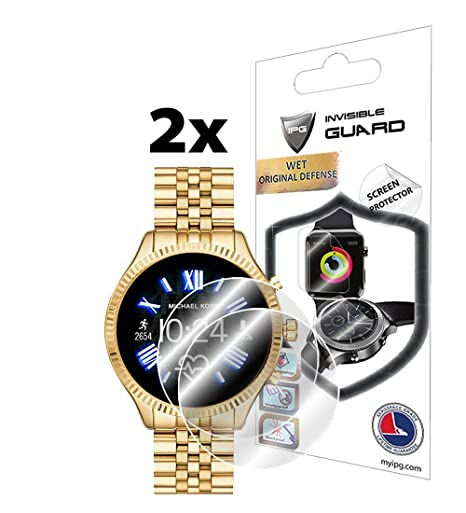 IPG for Michael Kors Access Lexington 2 Smartwatch Screen Protector (2 Units) Invisible Ultra HD Clear Film Anti Scratch Skin Guard - ...