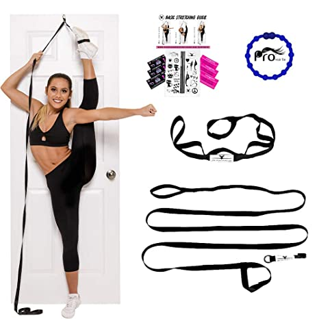 bc2c32b523eb4 Amazon.com: Stunt Stand Door Flexibility & Stretching Leg Strap - Great for  Cheer, Dance, Gymnastics or Any Sport! Free How-to-Use Links Included …