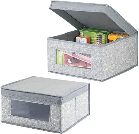 mDesign Juego de 2 organizadores de escritorio – Cajas organizadoras con tapa medianas para lápices, libretas y otros artículos – Caja para organizar con ventana transparente – gris: Amazon.es: Hogar