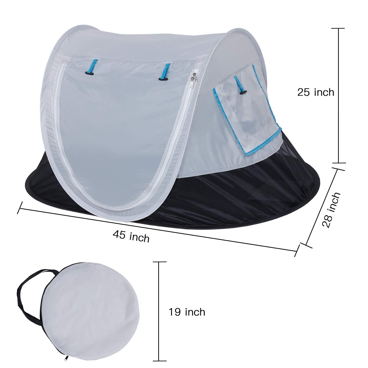 SHDIBA Portable Travel Pop up Baby Tent, Large Beach Sun Shelter Infant Tent, UPF 50+, Baby Sleep Outdoor Camping Mosquito Tent by SHDIBA (Image #3)