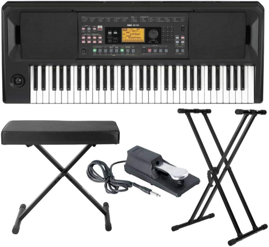 Korg EK-50 - Teclado de entretenimiento con banco de teclado ajustable Knox estilo X, soporte ajustable para teclado y pedal de sostenimiento