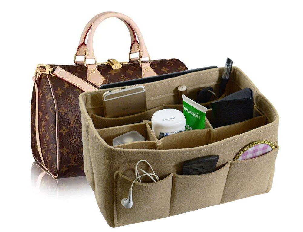 Felt Fabric Handbag Organizer,Insert Purse Organizer 12 Pockets Structure Shaper 4 size Beige Small