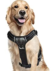 Perkisboby No Pull Dog Harness, Easy Control Dog Vest, Comfortable Padded Large Dog Harness with Reflective Patches for Large Dogs (Black) (L)