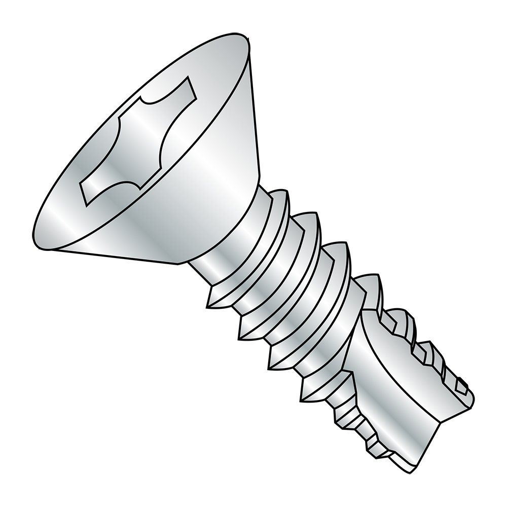 82 Degree Flat Head Steel Thread Cutting Screw Zinc Plated Pack of 100 #4-24 Thread Size Phillips Drive 5//8 Length Type 25