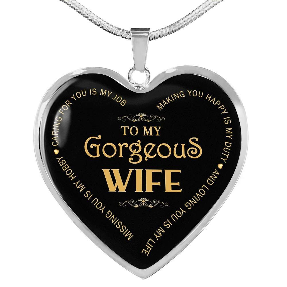 ThisYear Wife Pendant Necklace Chain Loving You is My Life Necklaces from Husband Fiancee Unique Valentine Gifts for Wife