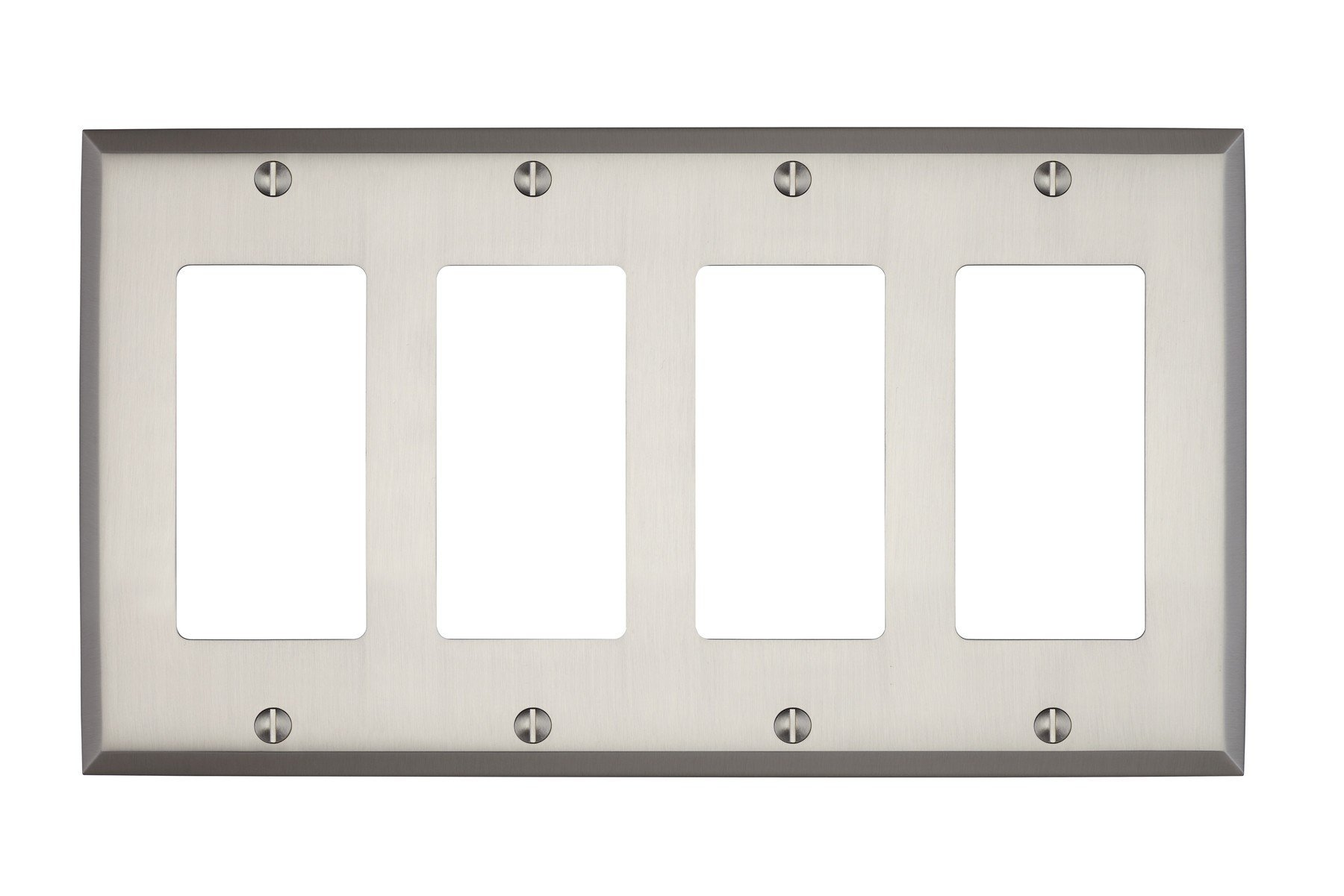 MAYKKE Graham Quad Rocker Light Switch Cover   Solid Brass 4 Gang Wall Plate   5 Color Finishes to Choose From   Brushed Nickel, ALA1020403