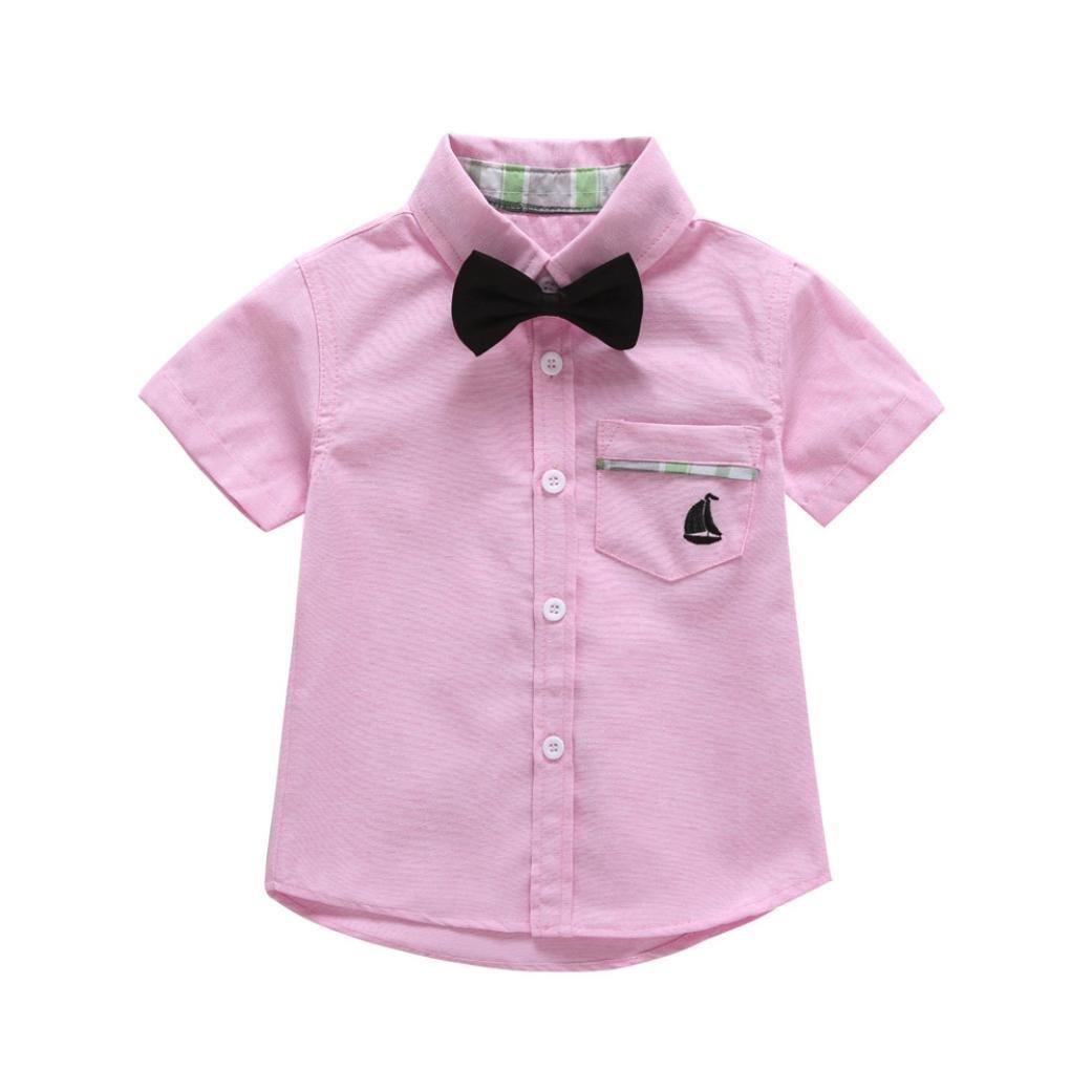 Winsummer Toddler Baby Boys Short Sleeves Gentleman Bowtie Button Down Shirts Formal Dress Shirt Wedding Party Tops